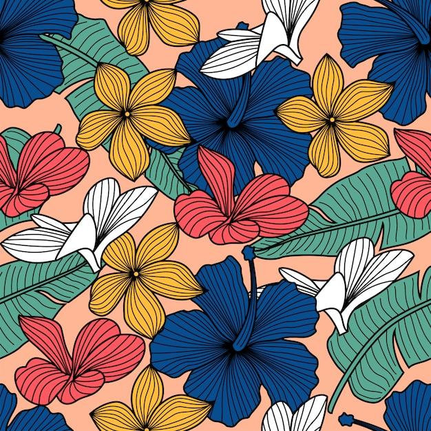 Floral pattern sans soudure avec des feuilles. fond tropical Vecteur Premium