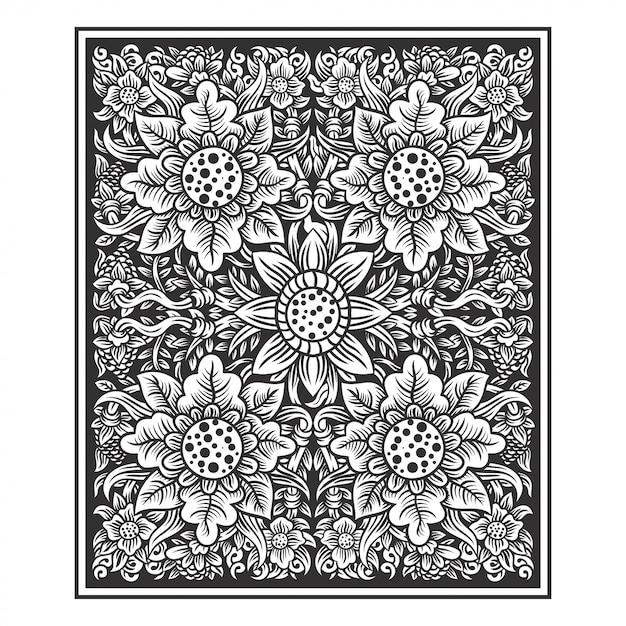 Floral plante fleurs illustration main dessin vectoriel Vecteur Premium