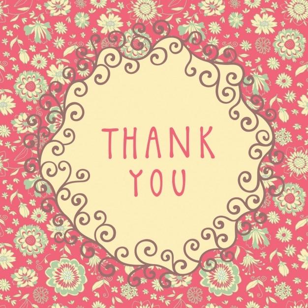 floral rose vous remercient fond Vecteur gratuit