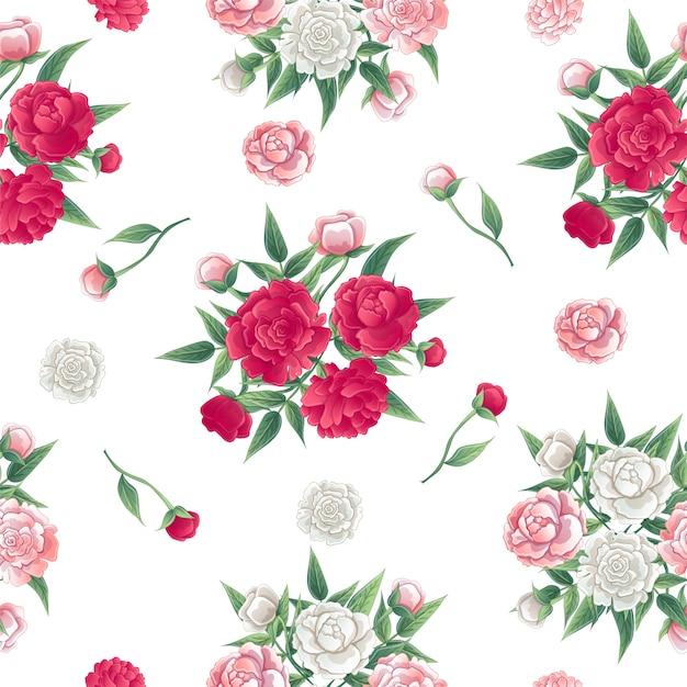 Floral seamless pattern. fond de pivoines. peon rose et blanc. Vecteur Premium