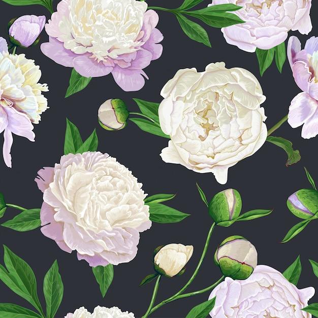 Floral Seamless Pattern Avec Pivoines Vecteur Premium
