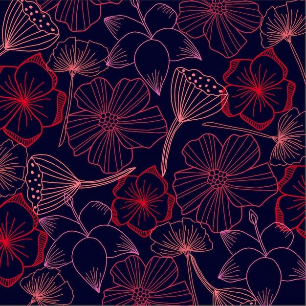 Flore abstraite en arrière plan Vecteur Premium