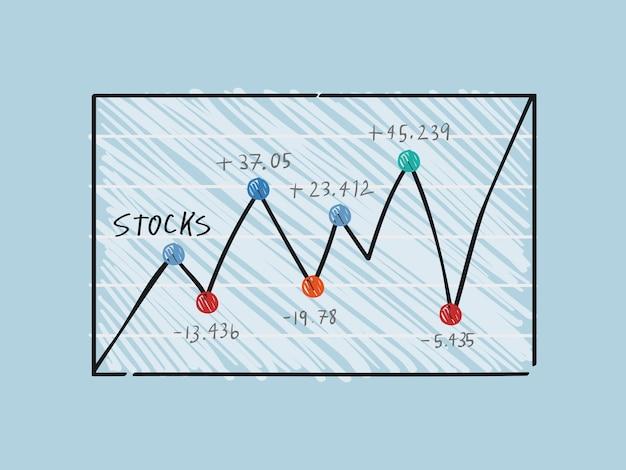 Fluctuation dans l'illustration graphique du marché financier Vecteur gratuit