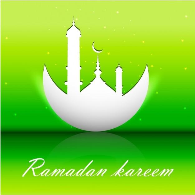 Fluor Verte Ramadan Kareem Vecteur gratuit