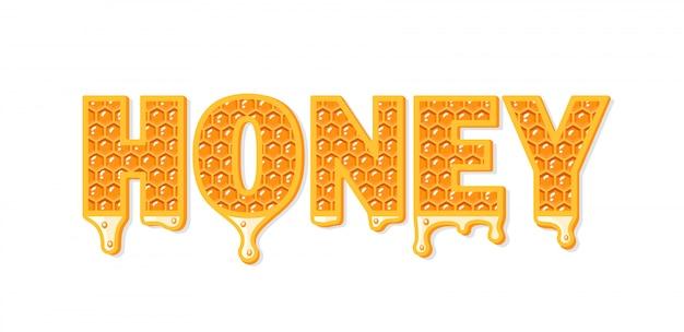 Flux De Miel Avec Nid D'abeille Isolé Sur Fond Blanc. Vecteur Premium