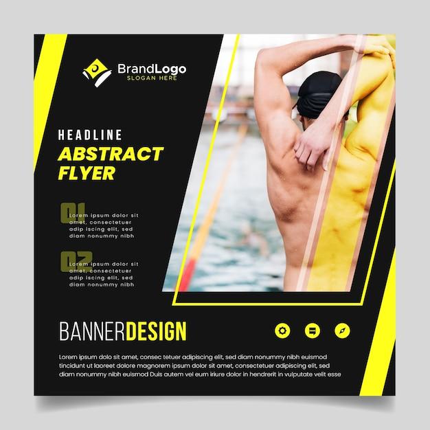 Flyer Abstrait Avec Nageur Vecteur gratuit