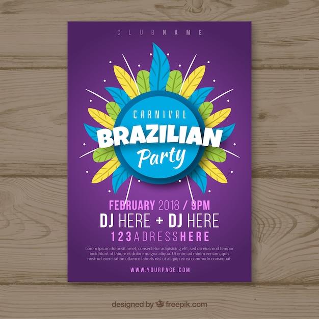 Flyer / affiche de fête de carnaval plat brésilien Vecteur gratuit