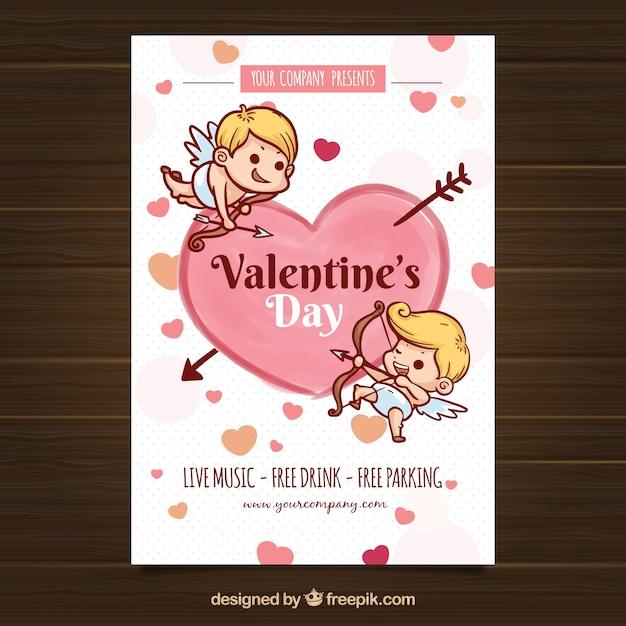 Flyer Affiche De La Saint Valentin Dessinés à La Main