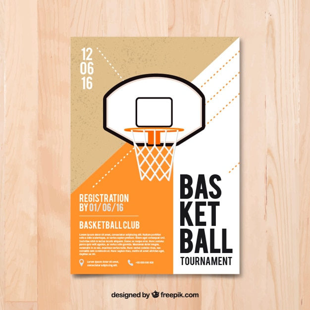 Flyer basket-ball en design plat Vecteur gratuit