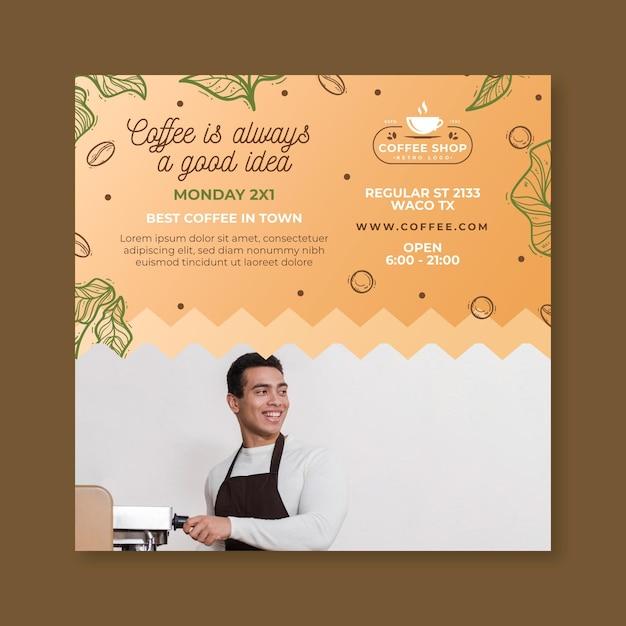 Flyer Carré De Modèle De Café Vecteur gratuit