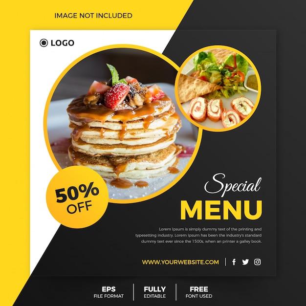 Flyer carré de nourriture classique ou post modèle instagram Vecteur Premium