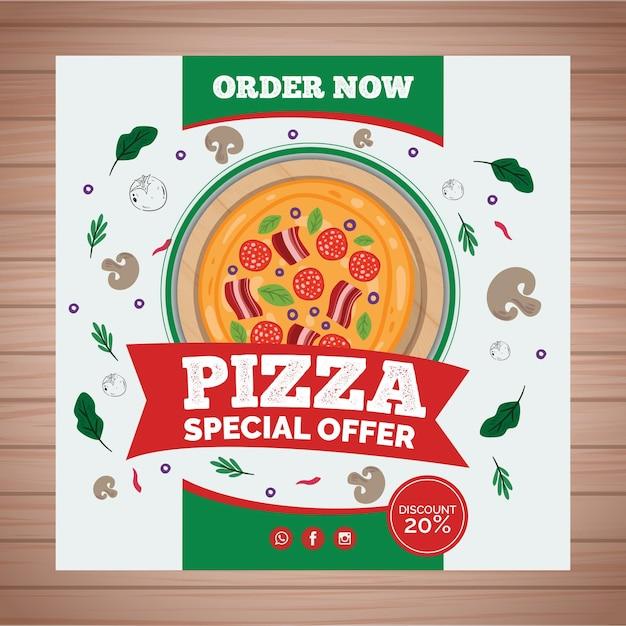 Flyer Carré Pour Pizzeria Vecteur gratuit