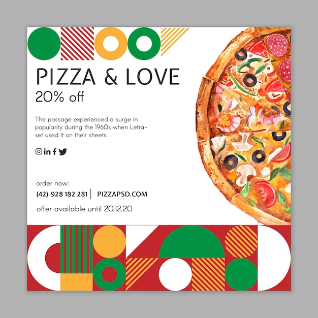 Flyer Carré De Restaurant De Pizza Vecteur gratuit