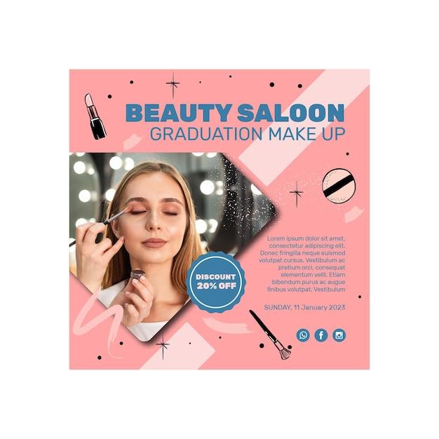 Flyer Carré De Salon De Beauté Vecteur Premium