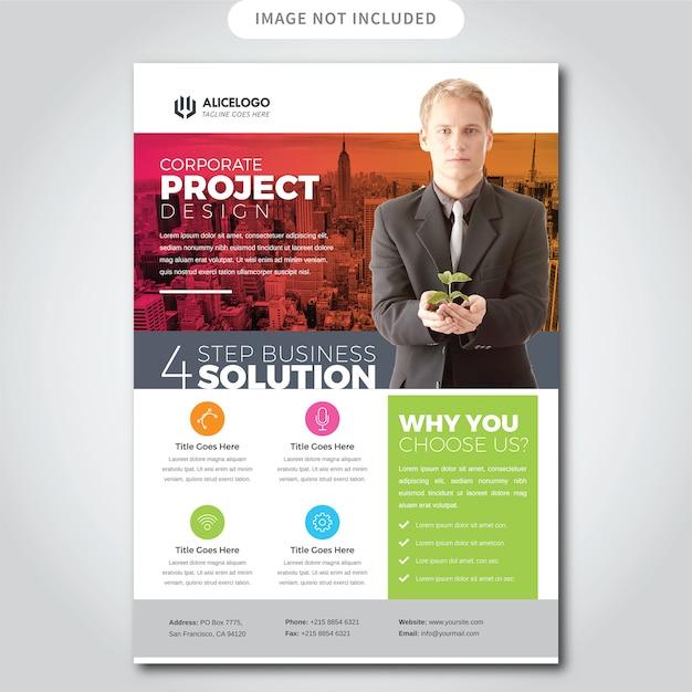 Flyer coloré d'affaires Vecteur Premium