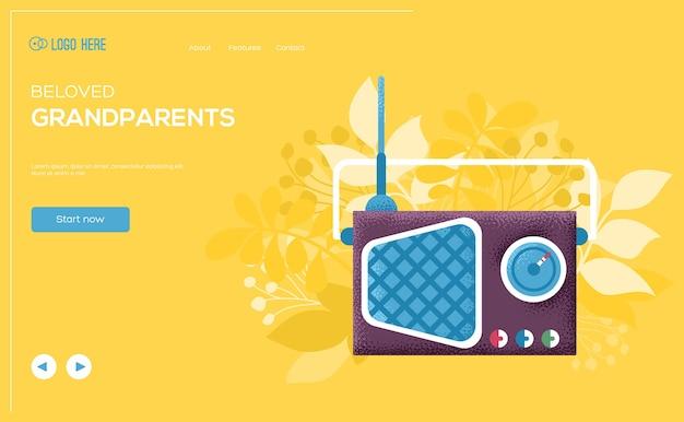 Flyer De Concept Radio, Bannière Web, En-tête D'interface Utilisateur, Entrez Dans Le Site. Texture De Grain Et Effet De Bruit. Vecteur Premium