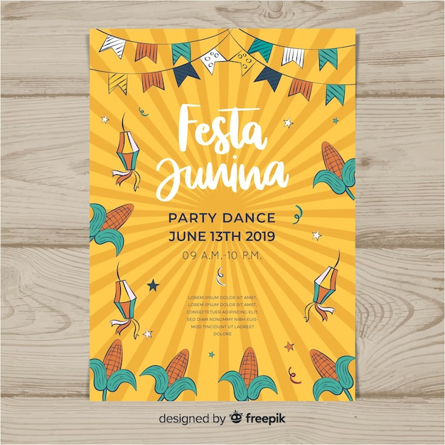 Flyer festa junina Vecteur gratuit
