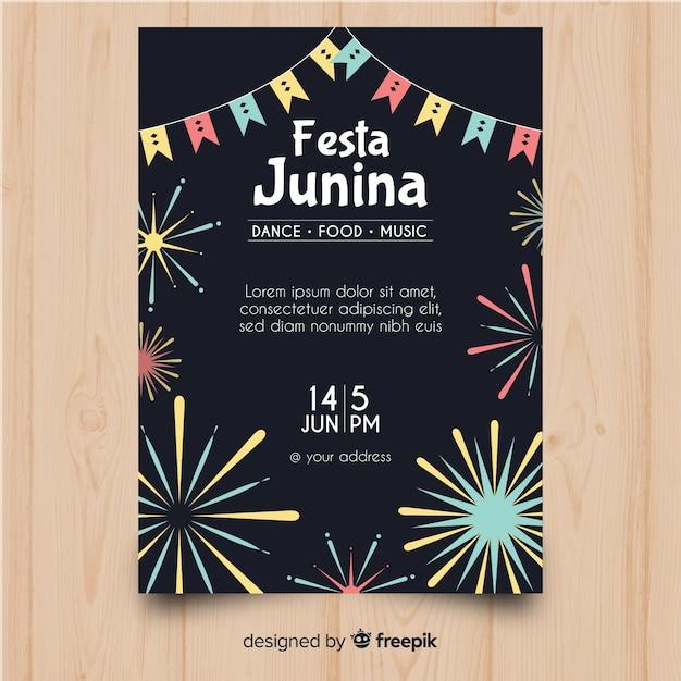 Flyer festa junina Vecteur gratuit