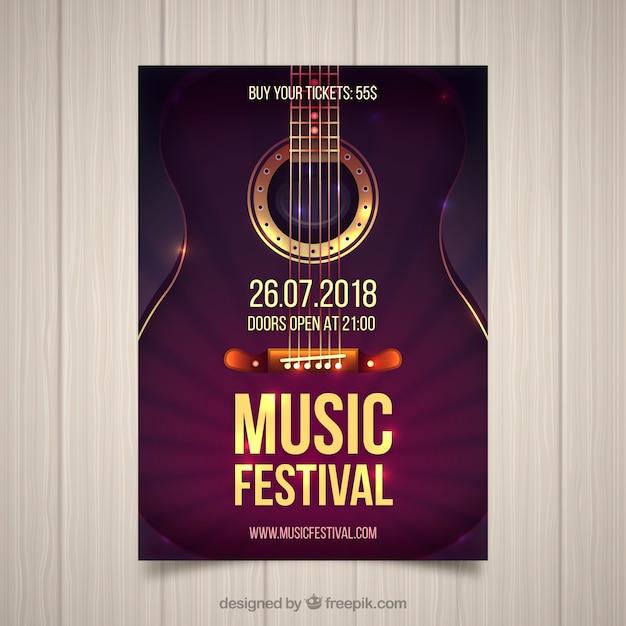 Flyer festival de musique avec guitare dans un style réaliste Vecteur gratuit