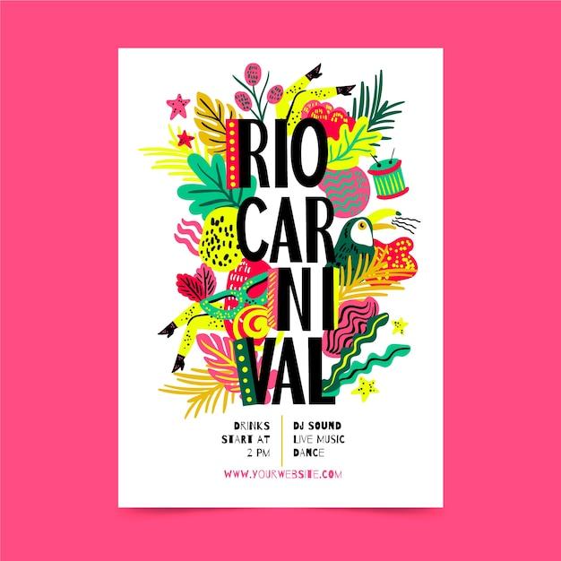Flyer De Fête De Carnaval Brésilien Dessiné à La Main Vecteur gratuit