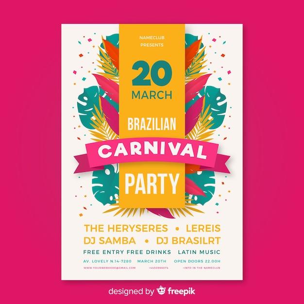 Flyer fête carnaval brésilien Vecteur gratuit