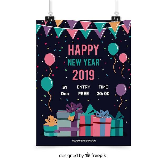 Flyer fête du nouvel an Vecteur gratuit