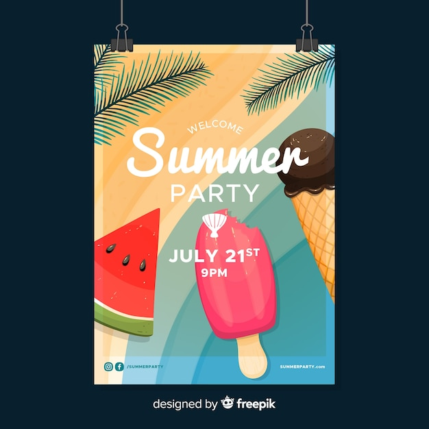 Flyer fête d'été Vecteur gratuit