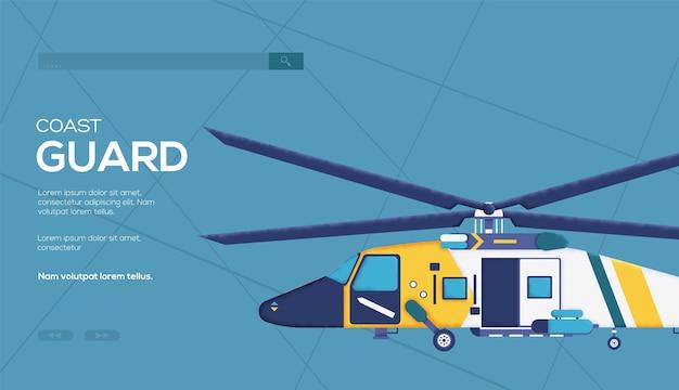 Flyer D'hélicoptère De La Garde Côtière, Bannière Web, En-tête De L'interface Utilisateur, Entrez Sur Le Site. Texture De Grain Et Effet De Bruit. Vecteur Premium