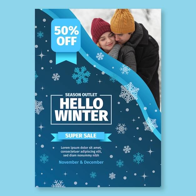 Flyer D'hiver A5 Vertical Vecteur gratuit