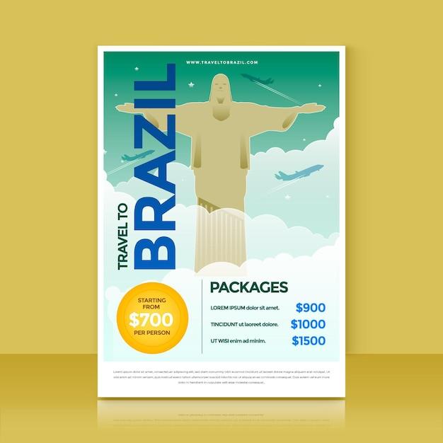 Flyer Illustré Avec Le Brésil Vecteur gratuit