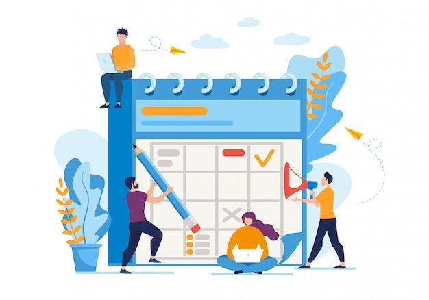 Flyer informatif sur la planification quotidienne des affaires. Vecteur Premium
