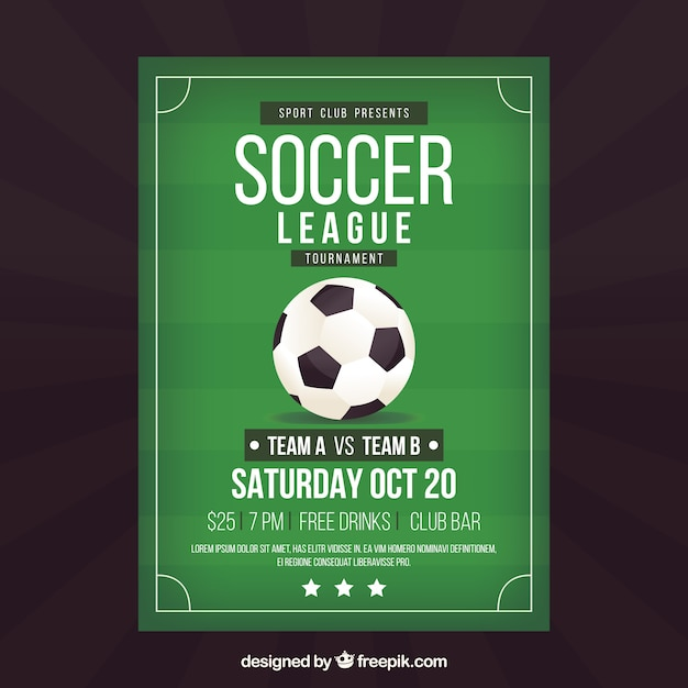 Flyer de la ligue de football avec ballon dans le style plat Vecteur gratuit