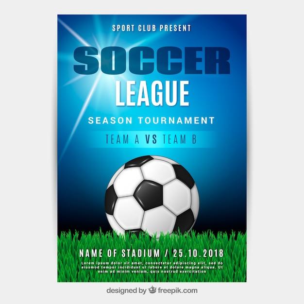 Flyer De La Ligue De Football Avec Ballon Dans Un Style Réaliste Vecteur Premium