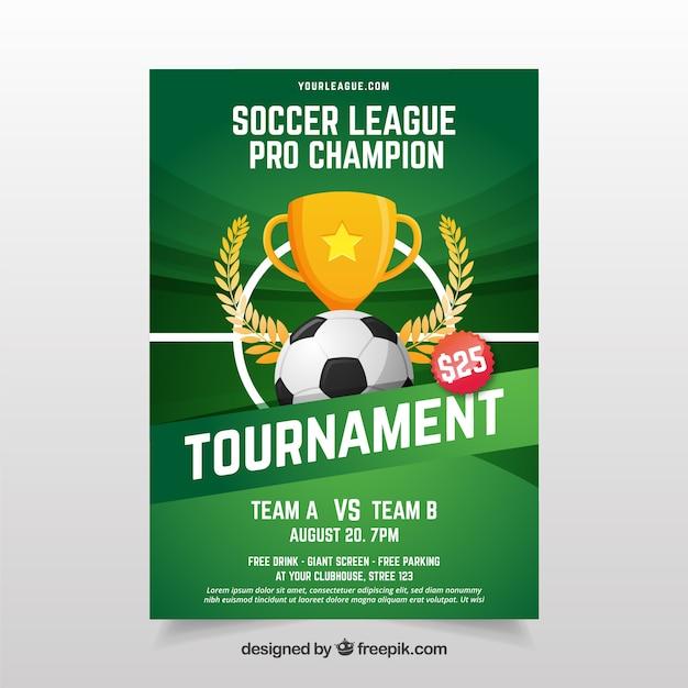 Flyer de la ligue de football avec ballon et trophée Vecteur gratuit