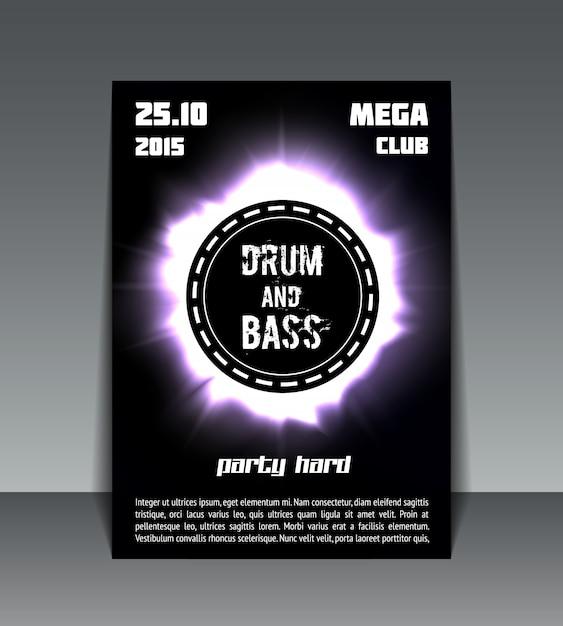 Flyer party batterie et basse Vecteur gratuit
