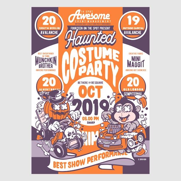 Flyer party costume Vecteur Premium