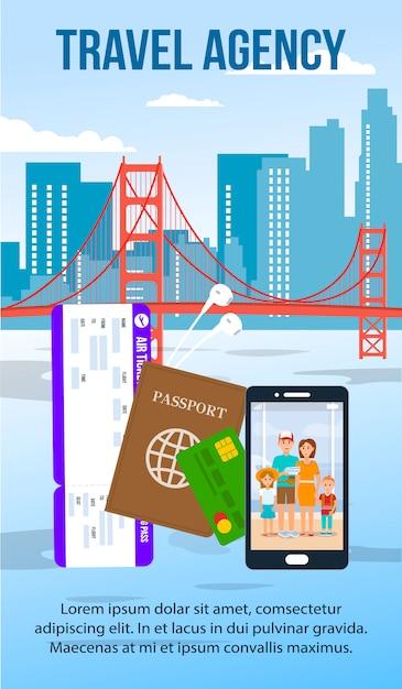 Flyer plat de paysage urbain de san francisco avec espace de texte Vecteur Premium