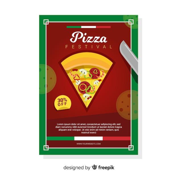Flyer plat de pizza Vecteur gratuit