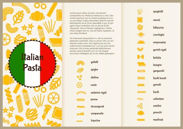 Flyer Pour La Présentation Des Types De Pâtes. Vecteur Premium