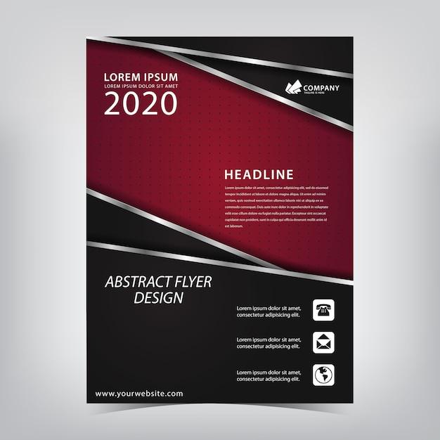 Flyer rouge avec une combinaison noire de rayures argentées qui se chevauchent Vecteur Premium