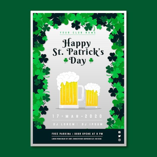 Flyer De La Saint-patrick Avec Des Bières Blondes Pâles Vecteur gratuit