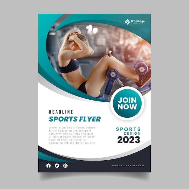 Flyer de sport de modèle avec photo Vecteur gratuit
