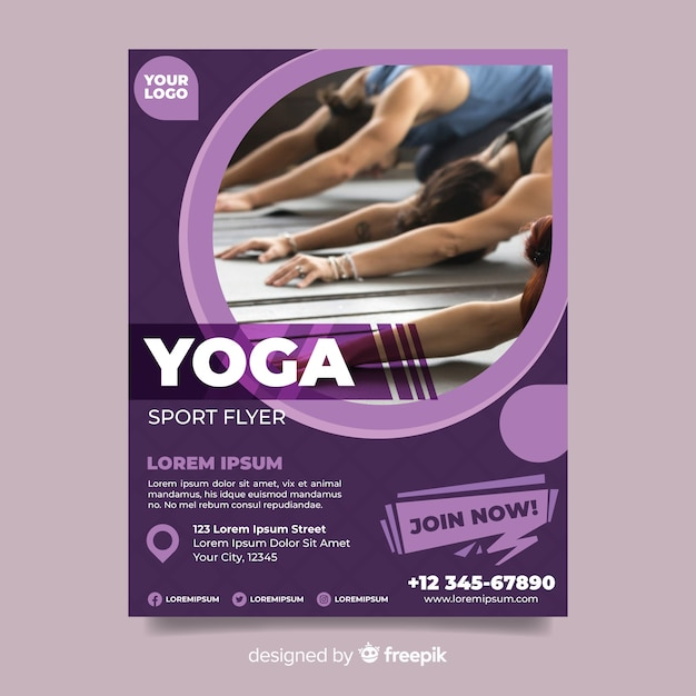 Flyer de sport de yoga avec photo Vecteur gratuit
