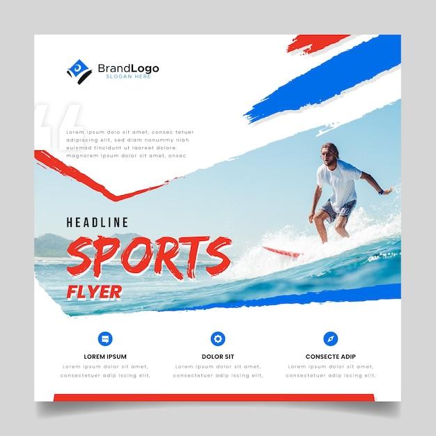 Flyer Sportif Avec Surfeur Vecteur gratuit
