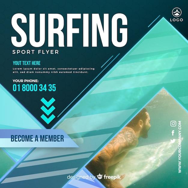Flyer surf Vecteur gratuit