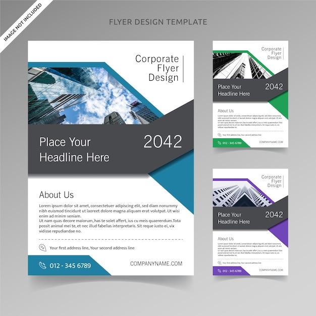 Flyer template design avec 3 choix de couleurs, couche organisée Vecteur Premium
