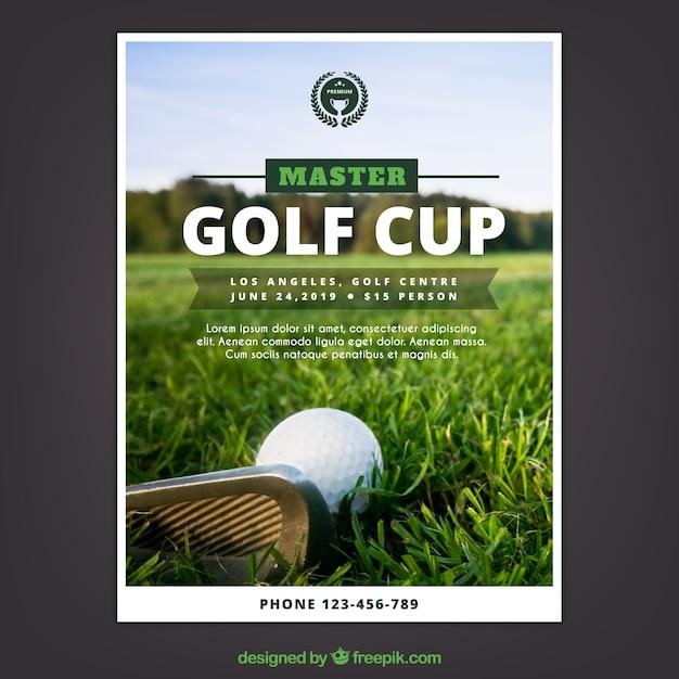 Flyer de tournoi de golf dans le style plat Vecteur gratuit
