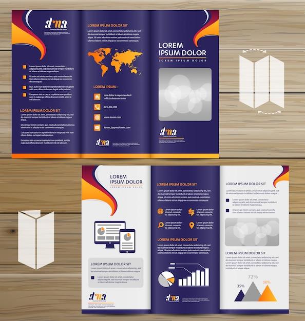 Flyer tri fold brochure leaflet ensemble de conception vectorielle Vecteur Premium