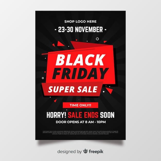 Flyer vendredi noir design plat Vecteur gratuit