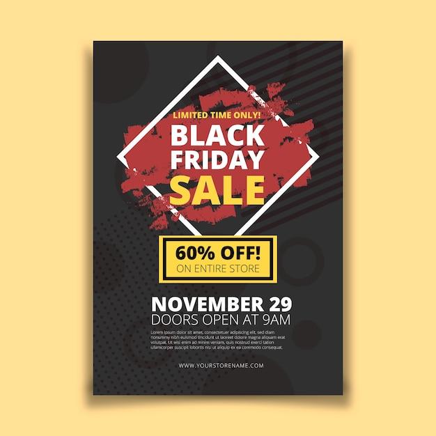 Flyer de vendredi noir avec fond géométrique Vecteur gratuit